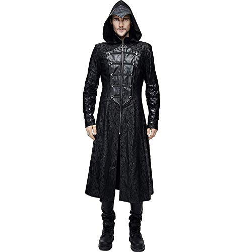 Devil Fashion Assassin?s Creed Black Leather Gothic Punk Military Cloak Coat for Men]()