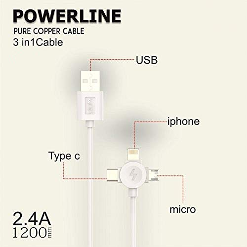 N M Z 3 in 1 Fast Charging USB Cable for Smartphones