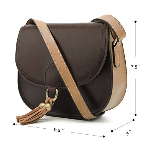 Crossbody Saddle Bag Purse Tassels Coffee Bags Women Shoulder with ECOSUSI Vintage for aXF7nnB