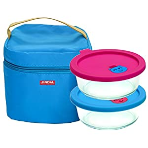 Jindal Microwavable Round Containers 650Ml Set Of 2 With Lunch Bag & Silicon Lid
