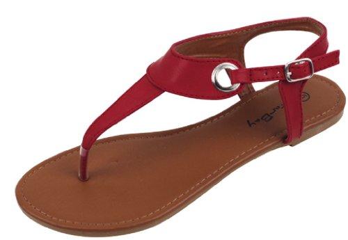 Shoes 18 Womens Roman Gladiator Sandals Flats Thongs 2207 Burgundy 8