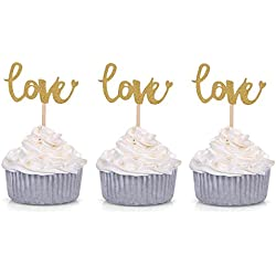 Giuffi Set of 24 Golden LOVE Cupcake Toppers Wedding Party Decors - by
