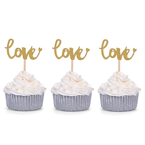 Price comparison product image Giuffi Set of 24 Golden LOVE Cupcake Toppers Wedding Party Decors - by