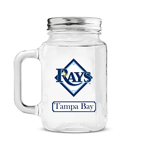 (MLB Tampa Bay Rays 20oz Glass Mason Jar )