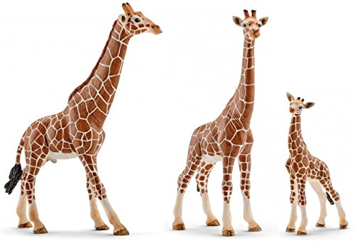 Schleich Realistic Wildlife Set of Three (3) Giraffes, Male (14749), Female (14750) and Calf (14751) Bagged Together Ready to Give Savannah Animals ()
