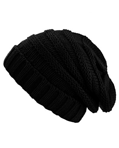 Review NYFASHION101 Oversized Baggy Slouchy Thick Winter Beanie Hat, Black