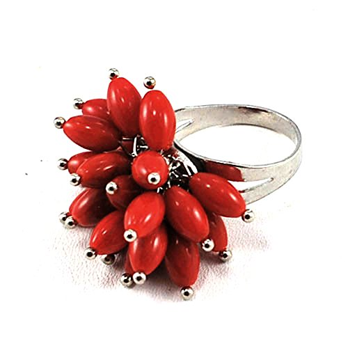 Large Red Coral Silver Plated Adjustable Ring, fit all size (RI80)a ()