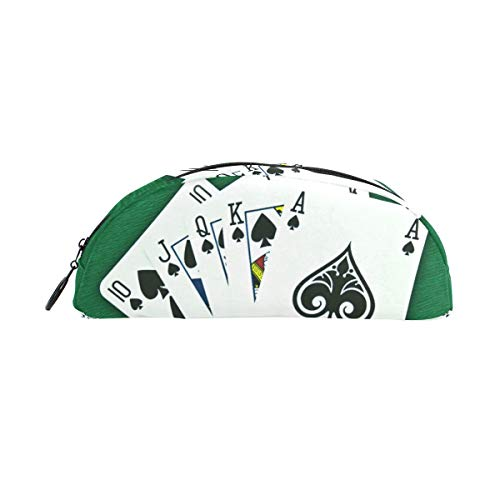 Playing Cards Poker Circle - Pencil Case Pencil Bag Semicircle Playing Cards Poker Green Makeup Bag Pouch Case Cosmetic Travel School Bag