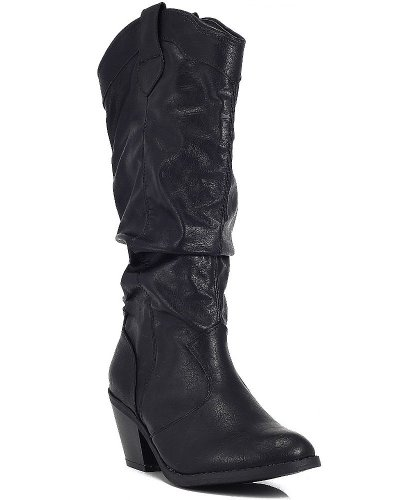 Distress Leather Western Boot (Qupid MUSE-01 Western Cowboy Inspired Slouchy Mid Calf Knee High Stacked Heel Boot Black Distress 6.5)