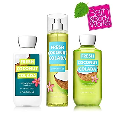 Bath and Body Works Fresh Coconut Colada The Daily Trio Gift Set Full Size - Body Lotion - Shower Gel and Fragrance Mist