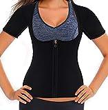 Firstr Women Neoprene Sauna Sweat Waist Trainer Vest for Weight Loss Gym Workout Body Shaper Tank Top Shirt with Zipper … (Black, Small)