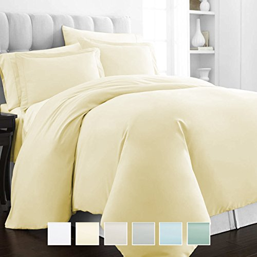 400 Thread Count 3 Piece Duvet Cover Set, 100% Long Staple Cotton Cream King Quilt Cover, Luxury Soft Sateen Weave Bedding Set with button closure (Cream King / Cal King ()
