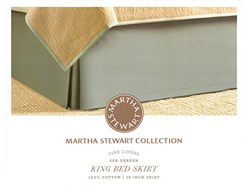 Martha Stewart Fine Linens Collection Sea Garden 370 TC King Bedskirt with 18-in Drop, Sea Garden Green