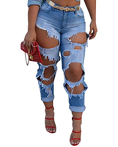 Clair Haute Taille Slim Pantalon Trous Denim Bleu Jeans Pantalons Crayon Dchirs Rtro en Femme qwXB6OB