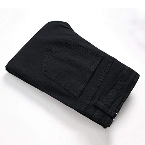 Fori Especial Strappati Nero Pantaloni Moto Da Jeans Cher Destroyed Skinny Closura Streetwear Estilo Fit Denim Slim Uomo Per qPHwTH8x