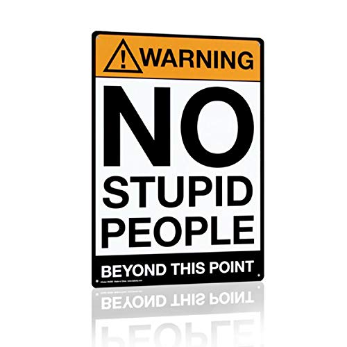 (Joyingle Warning:No Stupid People Beyond This Point, Metal Tin Sign, Wall Decorative Sign, Size 8