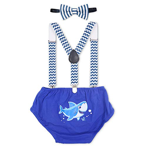 Baby Shark Outfit for Boys 3 Piece Cake Smash Outfit First Birthday Bloomers Bowtie Adjustable Suspenders Pants Toddler Boy Blue (Best Birthday Cakes For Boys)