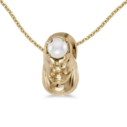 14k Yellow Gold Round Freshwater-Cultured Pearl Women's Baby Bootie Shoe Pendant with 18