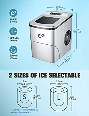 IKICH Portable Ice Maker Machine for Countertop, Ice Cubes Ready in 6 Mins, Make 26 lbs Ice in 24 Hrs with LED Display Perfect for Parties Mixed Drinks, Electric Ice Maker 2L with Ice Scoop and Basket