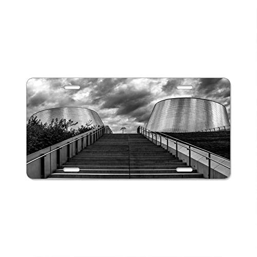 - Ulouquton Stylish Black and White Cement Stair Photography Metal Plate Frame,License Plate Covers,Car Tag - 6