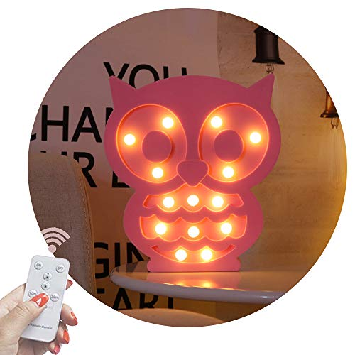 - Obrecis Light Up Owl Marquee Sign, Marquee Owl Night Lights with Remote Timer Dimmable for Children Kids Gift Bedroom Table Wall Decor Baby Nursery Lamp (RC Pink Owl)