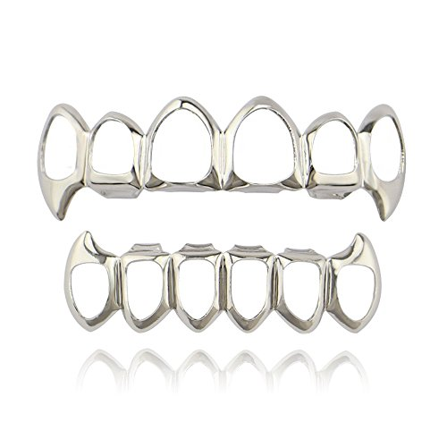 Silver Grill Teeth - Lureen Silver Vampire Fangs 6 Open Face Outline Grillz Teeth Top and Bottom Set Hip Hop Teeth (Silver)
