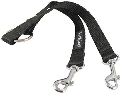 """10"""" Long Nylon 2-Way Double Dog Leash - Two Dog Coupler Black 4 Sizes (Medium: 5/8"""" Wide)"""