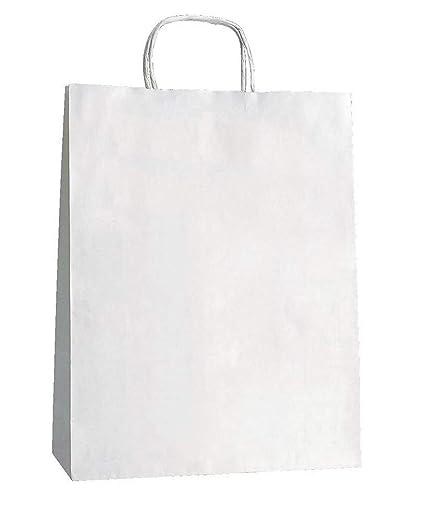 Yearol K05. 25 bolsas de papel kraft blancas con asas. Para comercio, tiendas, regalo, manualidades, etc. Anónimas, fondo americano cuadrado. 32 x 22 ...