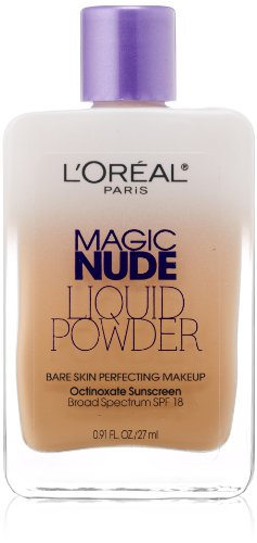 L'Oreal Paris Magic Nude Liquid Powder Bare Skin Perfecting Makeup SPF 18, Natural Buff, 0.91 Ounces