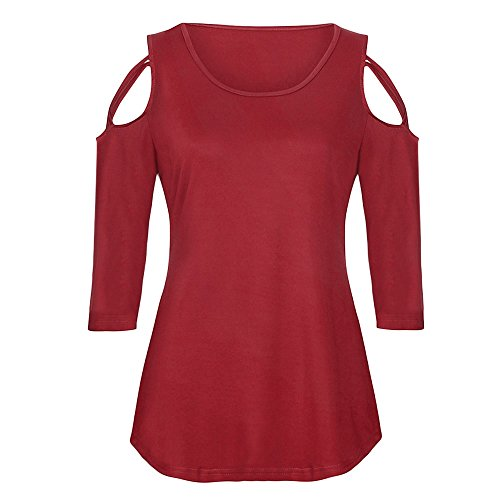 Rouge Trois Sillonnent Chemisier LULIKA ElGant Shirt Shirt Tee Tops Chemisiers Cold Femme Quart Shoulder Strappy Manches T tBt4awUq