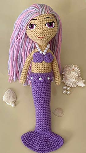 Girl Gift Mermaid Tail Doll Handmade Doll Mermaid with Purple Hair Mermaid Doll