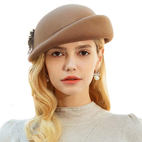 Winter Beret Hats Vintage Pillbox 100% Wool Felt Hat Fur Crimping Beanie Hat (Camel)