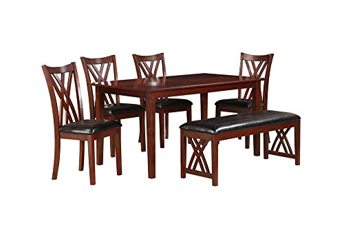 Homelegance Brooksville 6 Piece Dining Table Set with Bench, Cherry ()