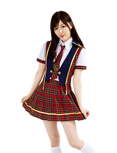 Prettycostume AKB48 Style Costume Japanese Anime Cosplay Clothing Student (Famous 80's Halloween Costume)