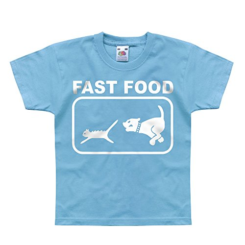 Price comparison product image Nutees Fast Food Dog Chasing Cat Unisex Kids T Shirts - Light Blue 14 / 15 Years