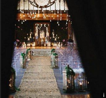 Wedding Carpet Aisle Runner-Matt Gold-4FTx75FT Sequin Aisles Floor Runner by ShiDianYi