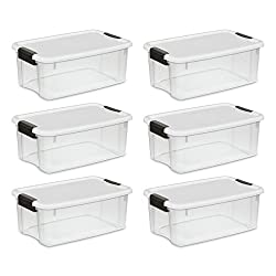 Sterilite 19849806 18 Quart17 Liter Ultra Latch Box, Clear With A White Lid & Black Latches, 6-pack
