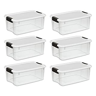 Sterilite 19849806 18 Quart/17 Liter Ultra Latch Box, Clear with a White Lid and Black Latches, 6-Pack (B002BA5F52) | Amazon Products