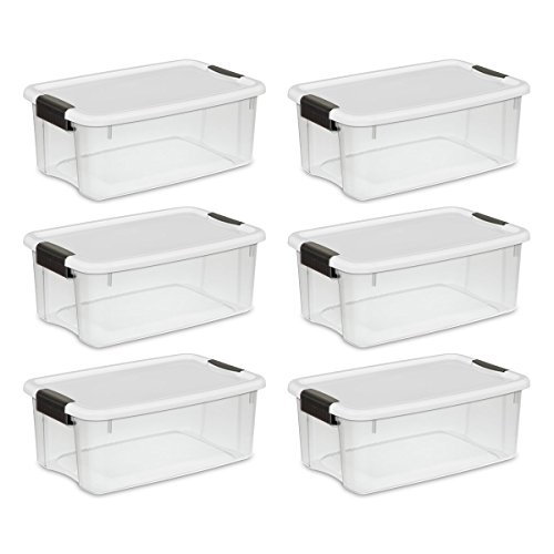 Sterilite 19849806 18 Quart/17 Liter Ultra Latch Box, Clear with a White Lid and Black Latches, 6-Pack]()