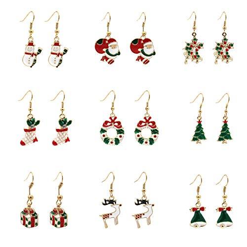 Christmas Drop Earrings for Women Girls Kids, Christmas Dangle Earrings for Thanksgiving Snowman Deer Gift Box Christmas Tree (9 Pairs) (9 Pairs)