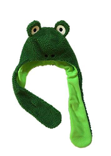 Little Boys Girls Toddler Sherpa Animal Fleece Hat Scarf (Green Frog)