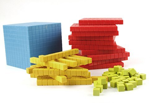 Wisetime Base Ten Blocks (131 Pcs.) Plastic Set in 4, Dience Block Set- Starter Kit ()