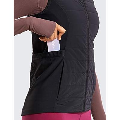 CRZ YOGA Women's Athletic Workout Run Down Puffer Vest Lightweight Full-Zip with Pockets at Women's Coats Shop