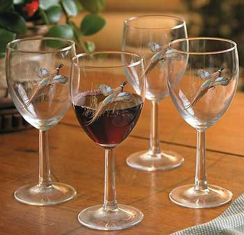 Pheasant White Wine Glasses by David A. Maass