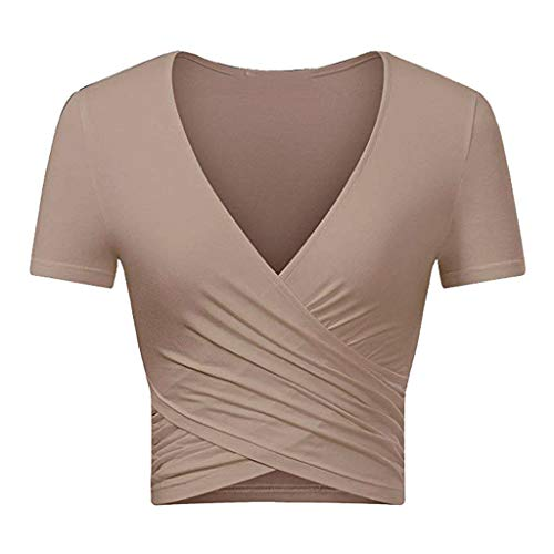 Crop Tops for Women BXzhiri Deep V Neck Short Sleeve Unique Slim Fit Coss Wrap Shirts Khaki by Bxzhiri_Women Tops (Image #1)
