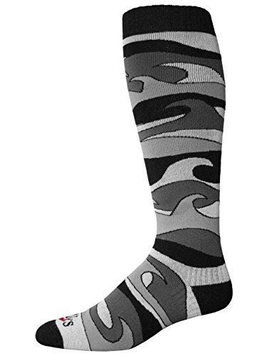 Hot Chillys Men's Surf Mid Volume Socks, X-Large, Surf/Black