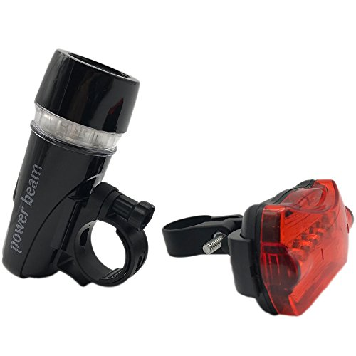 CP Bike Light Set - Bright 5 LED Headlight, 5 LED Taillight for Your Bicycle - Easy to Mount with Quick Release System - Best Front Lamp and Red Rear Light with Road Cycling,Emergency Flashlight