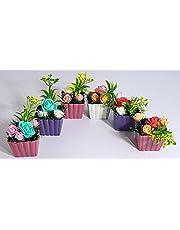 زهور ونبات وزرع صناعي - 11 سم - 6 قطع