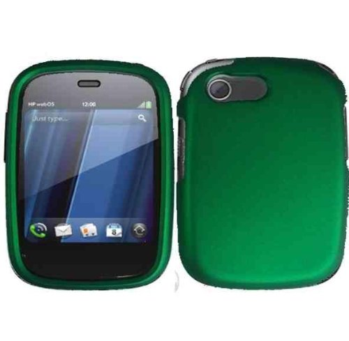 Dark Green Rubberized Snap on Protective Cover Case for HP Veer 4G + Microfiber Pouch Bag