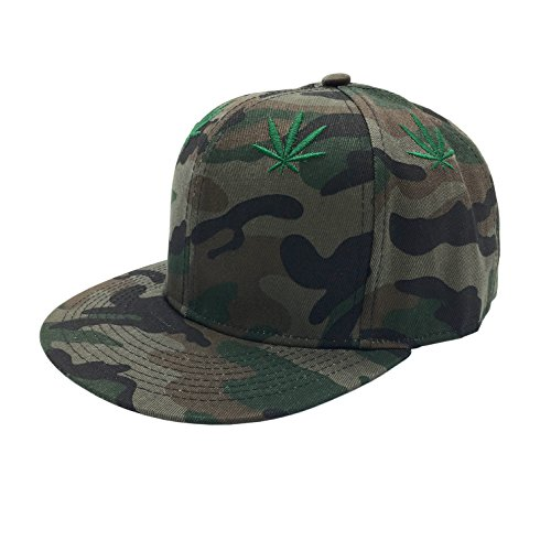 Silfrae-Adjustable-Unisex-Caps-Base-Ball-Cap-54-60cm-Flat-Bill-Camo-Green-Marijuana-Leaf